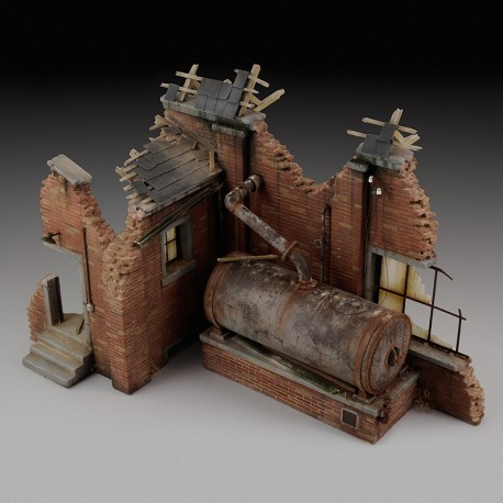 Factory ruin with steam boiler (1/35 Scale)