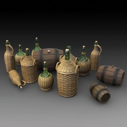Wicker Bottles Demijohn Glass   and small barrels  (1/35)