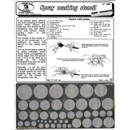 Spray masking stencil (for 1/35 scales tanks and generic scales)